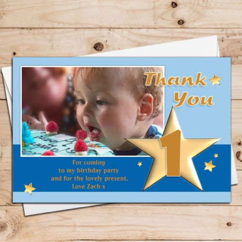 10 Personalised Boys Birthday Party Thank you Photo Cards N17 - Any Age